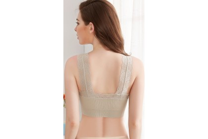 Comfortable Slip-on Vertically Striped Elastic Material Bra with Lace Edgings - Assorted